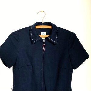 Vintage 70's poly navy blue shirt dress M straight